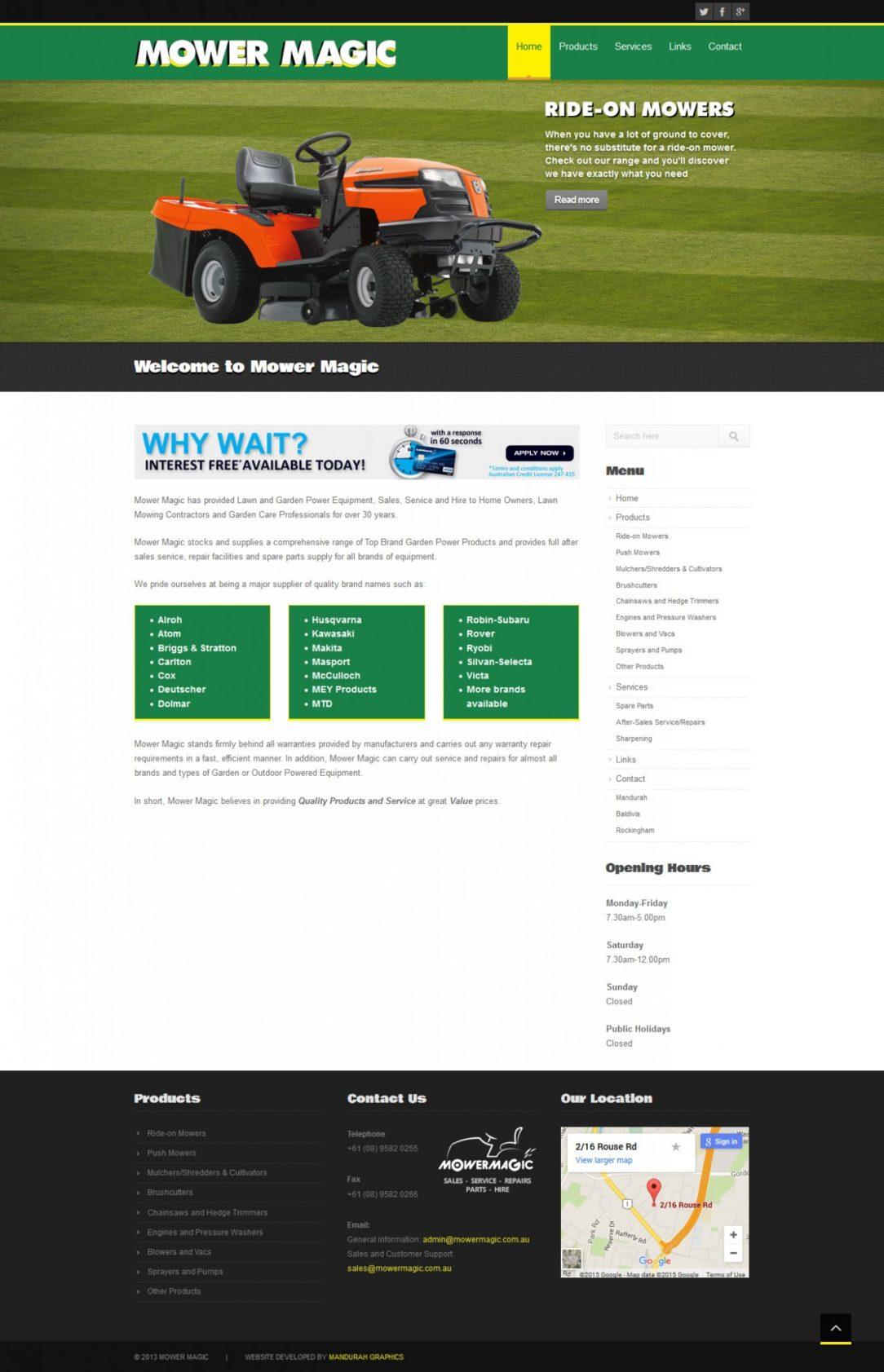 Mower Magic Website Design and Development