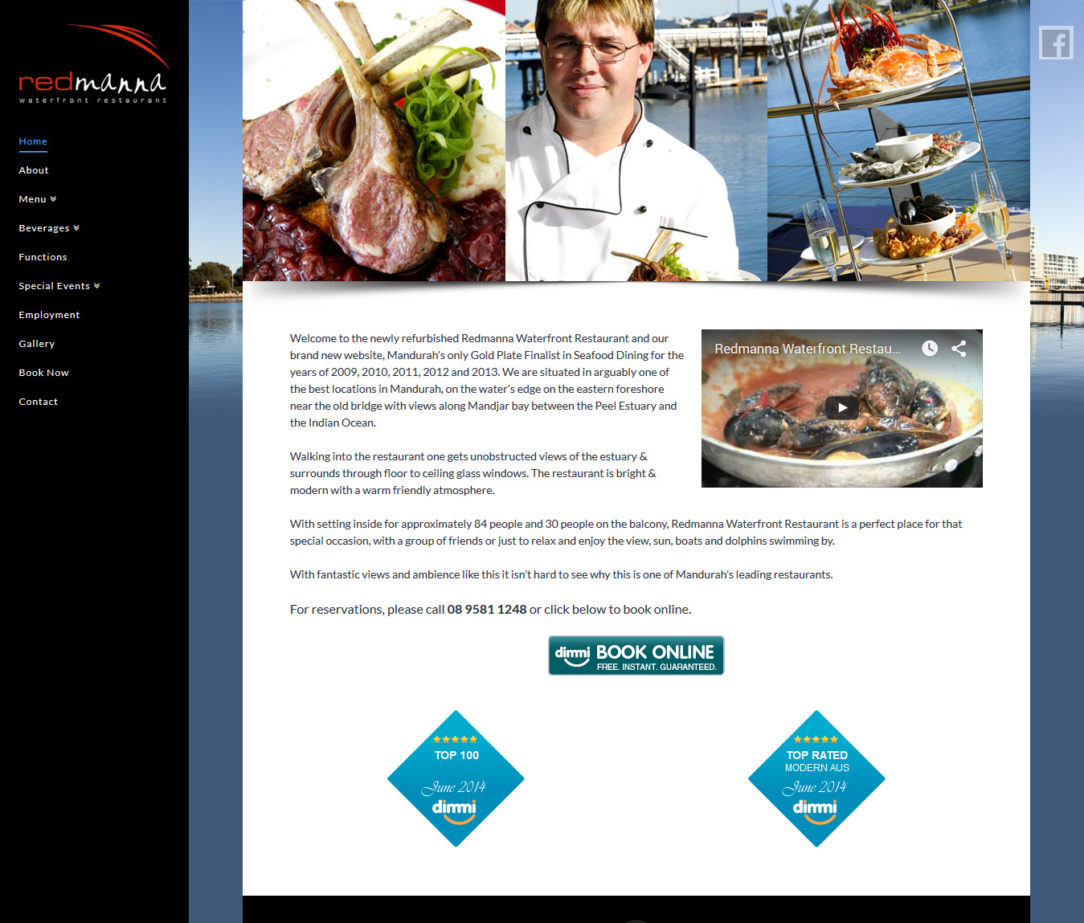 Redmanna Waterfront Restaurant Website Design and Development