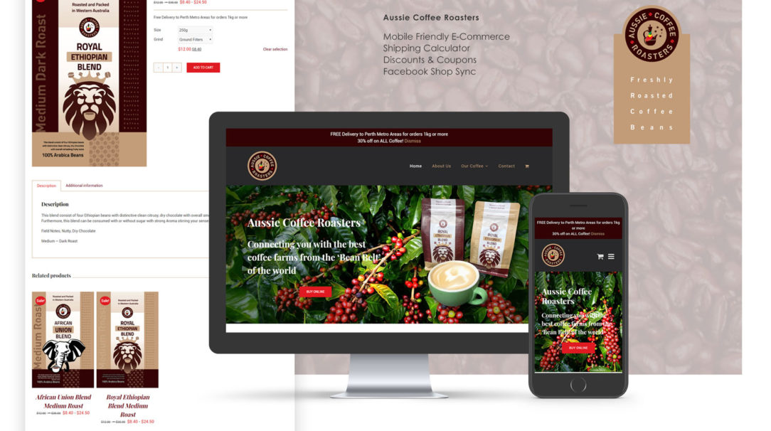 Aussie Coffee Roasters website mockup