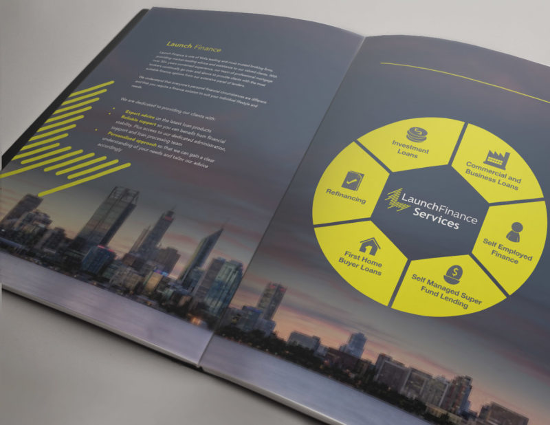 Launch Finance Trifold Brochure Stationary