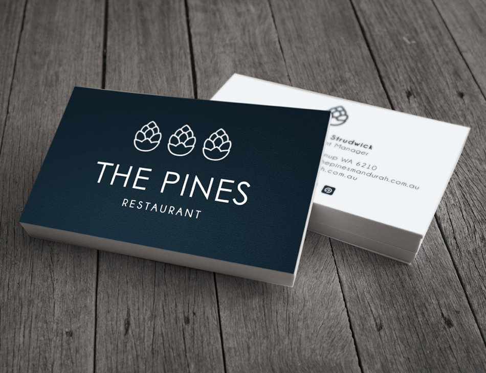 The Pines restaurant business cards