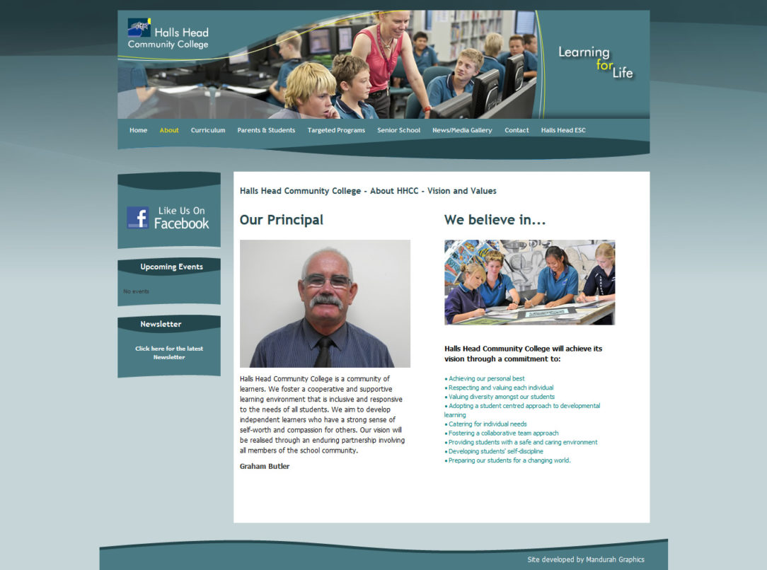 Halls Head Community College Website Design and Development
