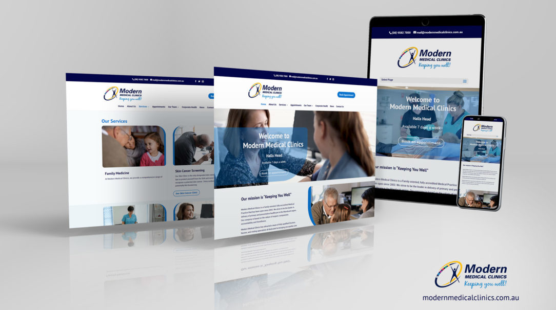 modern medical clinics website mockup