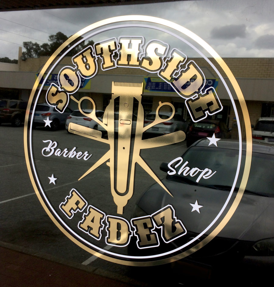 southside fadez window vinyl signage