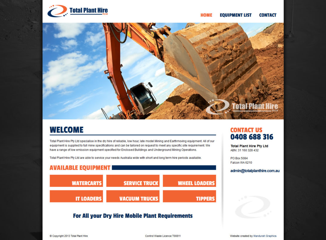 Total Plant Hire Website Design and Development