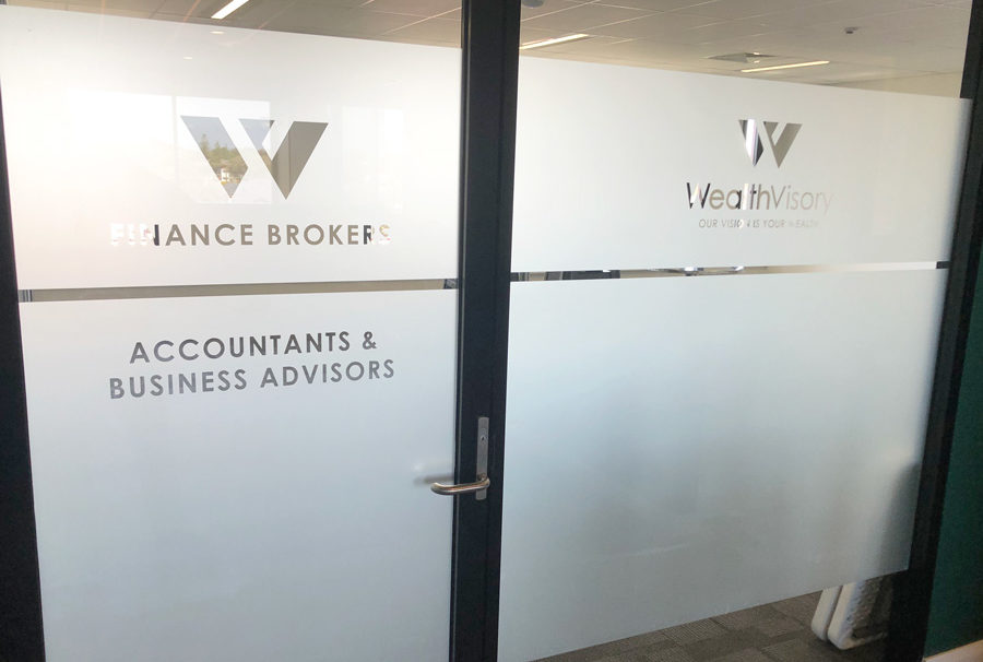 wealth visory frosted glass signage doors