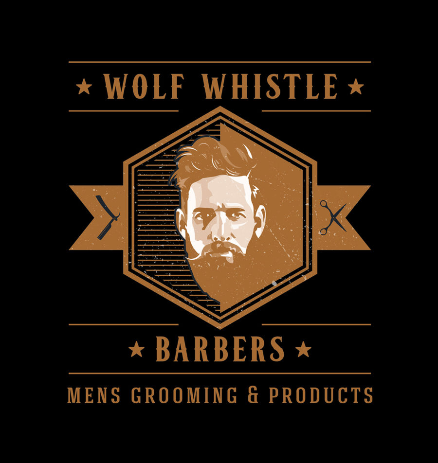 wolf whistle barbers logo